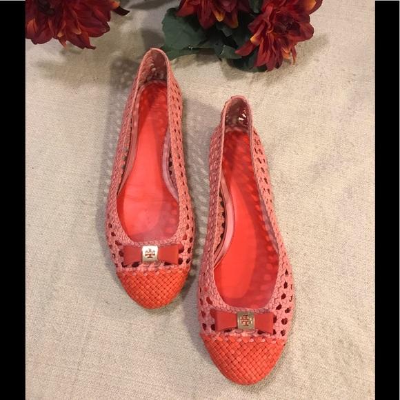 Tory Burch Shoes - Tory Burch Orange Carlyle woven flats